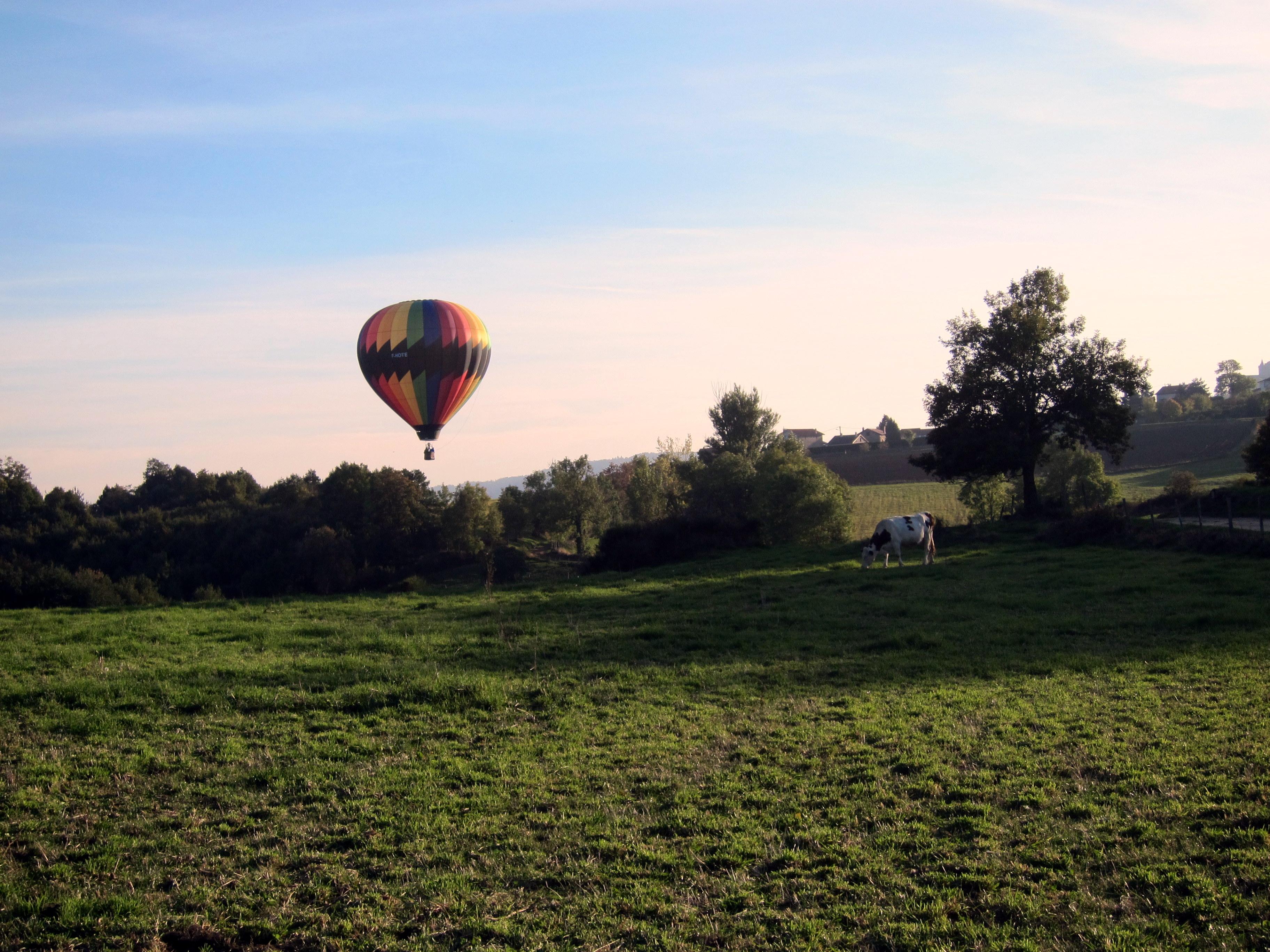 Survol en montgolfiere des prairies proche de lyon